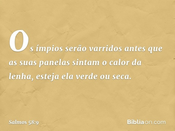 Os ímpios serão varridos antes que as suas panelas sintam o calor da lenha, esteja ela verde ou seca. -- Salmo 58:9