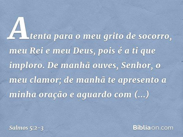 Atenta para o meu grito de socorro, meu Rei e meu Deus, pois é a ti que imploro. De manhã ouves, Senhor, o meu clamor; de manhã te apresento a minha oração e ag