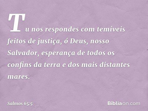 Tu nos respondes com temíveis feitos de justiça, ó Deus, nosso Salvador, esperança de todos os confins da terra e dos mais distantes mares. -- Salmo 65:5