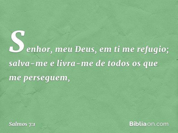 Senhor, meu Deus, em ti me refugio; salva-me e livra-me de todos os que me perseguem, -- Salmo 7:1