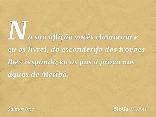 Na sua aflição vocês clamaram e eu os livrei, do esconderijo dos trovões lhes respondi; eu os pus à prova nas águas de Meribá. -- Salmo 81:7