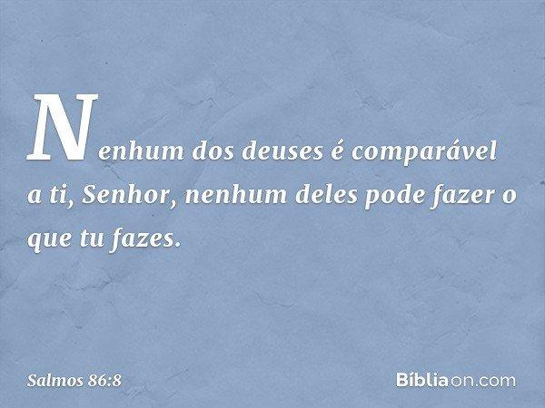 Nenhum dos deuses é comparável a ti, Senhor, nenhum deles pode fazer o que tu fazes. -- Salmo 86:8