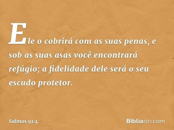 Ele o cobrirá com as suas penas, e sob as suas asas você encontrará refúgio; a fidelidade dele será o seu escudo protetor. -- Salmo 91:4
