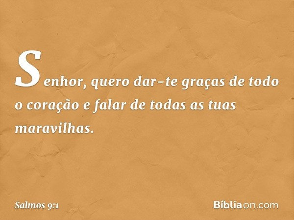 Senhor, quero dar-te graças de todo o coração e falar de todas as tuas maravilhas. -- Salmo 9:1