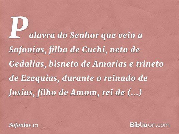 Palavra do Senhor que veio a Sofonias, filho de Cuchi, neto de Gedalias, bisneto de Amarias e trineto de Ezequias, durante o reinado de Josias, filho de Amom, r
