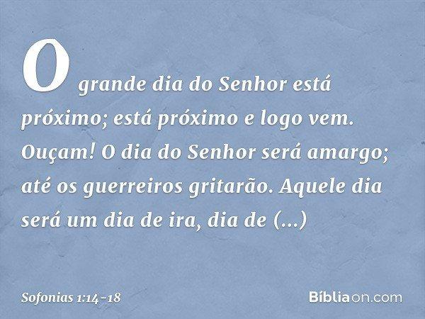 """""""O grande dia do Senhor está próximo; está próximo e logo vem. Ouçam! O dia do Senhor será amargo; até os guerreiros gritarão. Aquele dia será um dia de ira, di"""