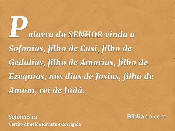 Palavra do SENHOR vinda a Sofonias, filho de Cusi, filho de Gedalias, filho de Amarias, filho de Ezequias, nos dias de Josias, filho de Amom, rei de Judá.