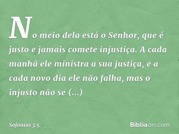 No meio dela está o Senhor, que é justo e jamais comete injustiça. A cada manhã ele ministra a sua justiça, e a cada novo dia ele não falha, mas o injusto não s