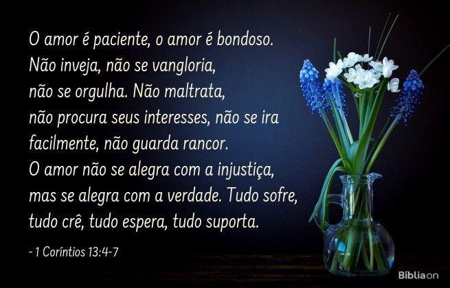 O amor é paciente, o amor é bondoso. Não inveja, não se vangloria, não se orgulha. Não maltrata, não procura seus interesses, não se ira facilmente, não guarda rancor. O amor não se alegra com a injustiça, mas se alegra com a verdade. Tudo sofre, tudo crê, tudo espera, tudo suporta. 1 Coríntios 13:4-7
