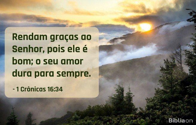 Rendam graças ao Senhor, pois ele é bom; o seu amor dura para sempre.1 Crônicas 16:34