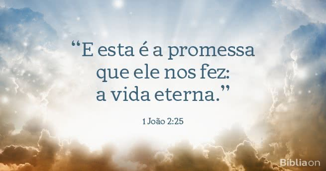 E esta é a promessa que ele nos fez: a vida eterna. 1 João 2:25