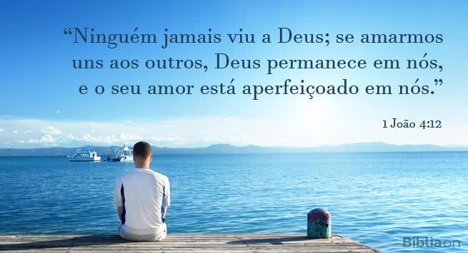 Ninguém jamais viu a Deus; se amarmos uns aos outros, Deus permanece em nós, e o seu amor está aperfeiçoado em nós. 1 João 4:12