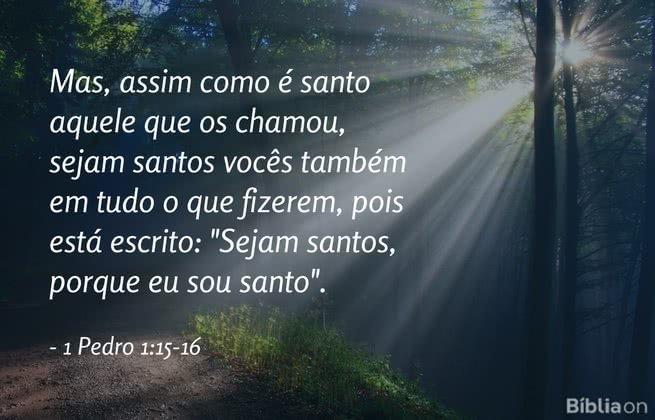 Mas, assim como é santo aquele que os chamou, sejam santos vocês também em tudo o que fizerem, pois está escrito: 'Sejam santos, porque eu sou santo. 1 Pedro 1:15-16