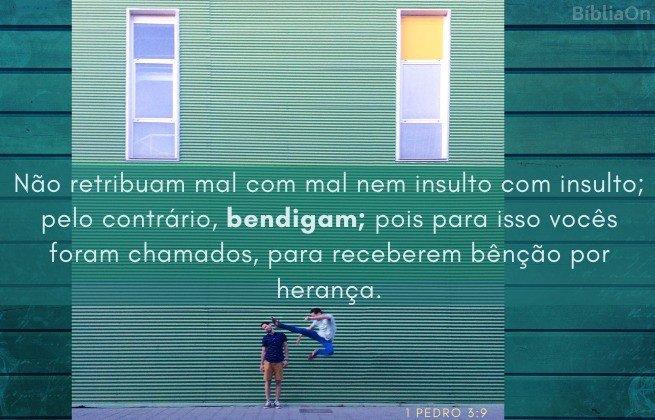 Imagem de salto de briga de rua - Versículo 1 Pedro 3:9 - Não paguem mal por mal nem insulto por insulto...