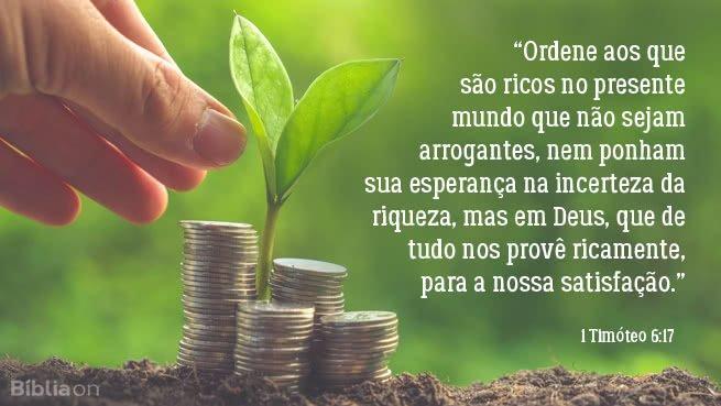 """""""Ordene aos que são ricos no presente mundo que não sejam arrogantes, nem ponham sua esperança na incerteza da riqueza, mas em Deus, que de tudo nos provê ricamente, para a nossa satisfação."""" 1 Timóteo 6:17"""