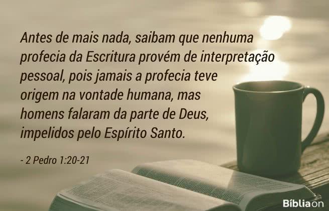 Antes de mais nada, saibam que nenhuma profecia da Escritura provém de interpretação pessoal, pois jamais a profecia teve origem na vontade humana, mas homens falaram da parte de Deus, impelidos pelo Espírito Santo. 2 Pedro 1:20-21