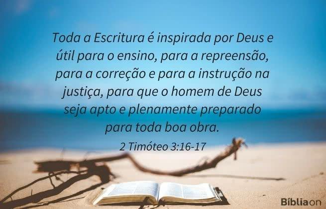 Toda a Escritura é inspirada por Deus e útil para o ensino, para a repreensão, para a correção e para a instrução na justiça, para que o homem de Deus seja apto e plenamente preparado para toda boa obra. 2 Timóteo 3:16-17