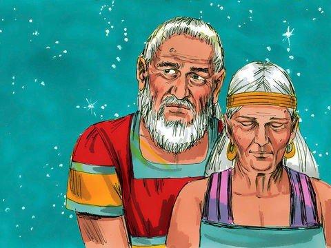 Imagem de Abraao e Sara velhos, fundo com o céu estrelado