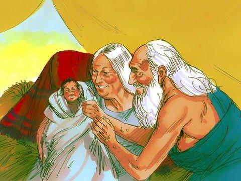 Abrão, Sara e o bebê Isaque - alegria da promessa cumprida