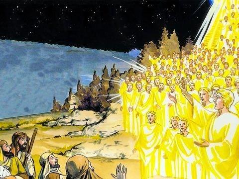 Pastores no campo - Multidão de anjos louvam a Deus pelo nascimento do Salvador do mundo