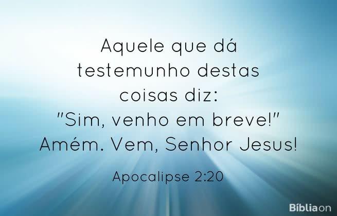 """Aquele que dá testemunho destas coisas diz: """"Sim, venho em breve!"""" Amém. Vem, Senhor Jesus! Apocalipse 2:20"""