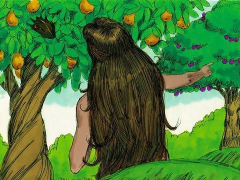 Eva dá ouvidos à serpente e não a Deus