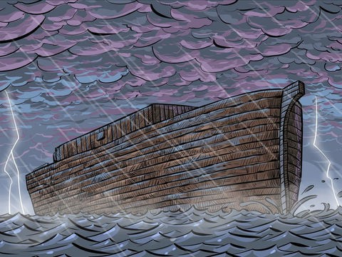 A arca de Noé e o Dilúvio - a arca sobre as águas