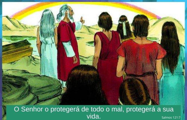 A arca de Noé e o Dilúvio - a aliança, arco-íris - Salmos 121:7 Deus nos protegerá
