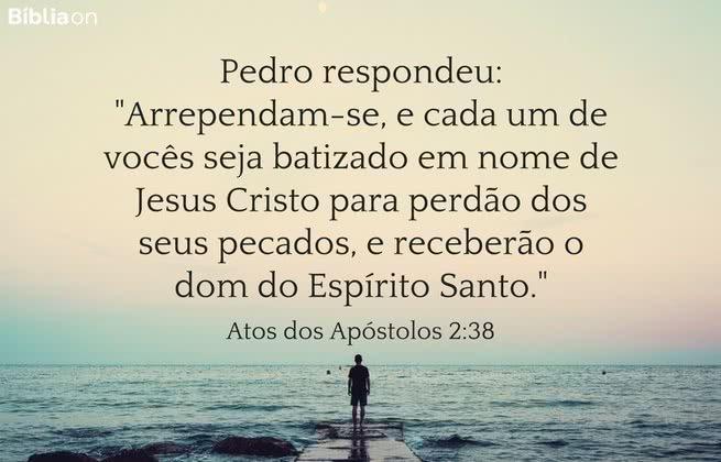 Pedro respondeu: 'Arrependam-se, e cada um de vocês seja batizado em nome de Jesus Cristo para perdão dos seus pecados, e receberão o dom do Espírito Santo. Atos dos Apóstolos 2:38