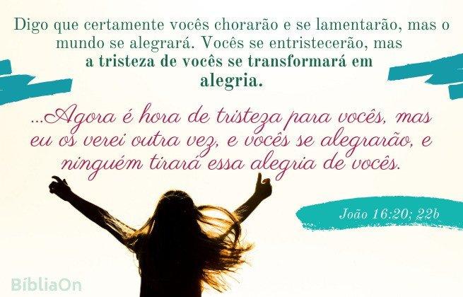 versículos João 16:20; 22 - A tristeza se transformará em alegria
