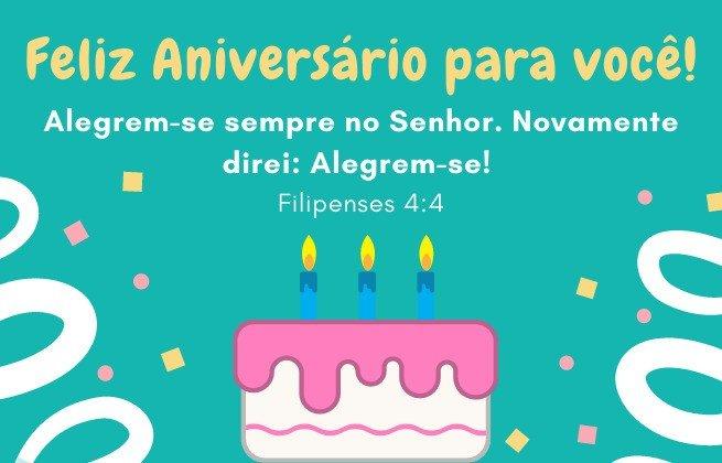 Feliz aniversario - Alegrem-se - Filipenses 4:4 com imagem de um bolo de aniversário