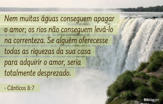 Nem muitas águas conseguem apagar o amor; os rios não conseguem levá-lo na correnteza. Se alguém oferecesse todas as riquezas da sua casa para adquirir o amor, seria totalmente desprezado. Cânticos 8:7