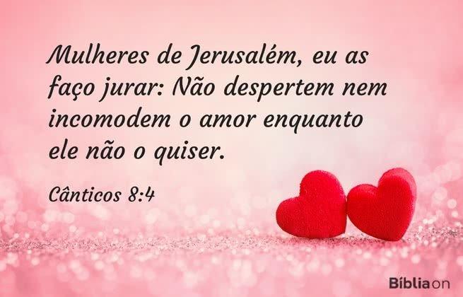 Mulheres de Jerusalém, eu as faço jurar: Não despertem nem incomodem o amor enquanto ele não o quiser. Cânticos 8:4