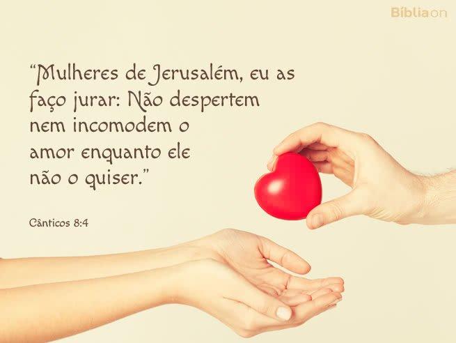 """""""Mulheres de Jerusalém, eu as faço jurar: Não despertem nem incomodem o amor enquanto ele não o quiser."""" Cânticos 8:4"""