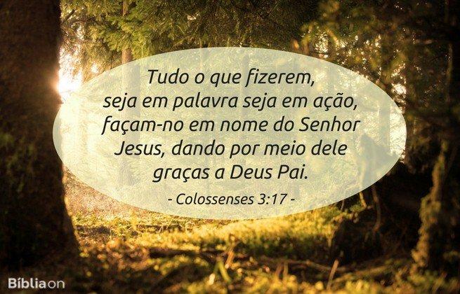 Tudo o que fizerem, seja em palavra seja em ação, façam-no em nome do Senhor Jesus, dando por meio dele graças a Deus Pai. Colossenses 3:17