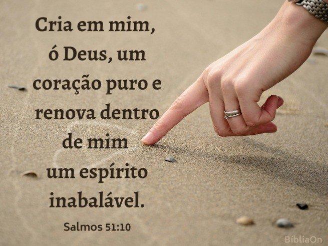 Salmo 51:10 - Cria em mim oh Deus um coração puro... Imagem dedo desenho coração na areia
