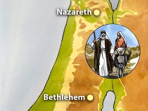 Mapa viagem de José e Maria - de Nazaré até Belém