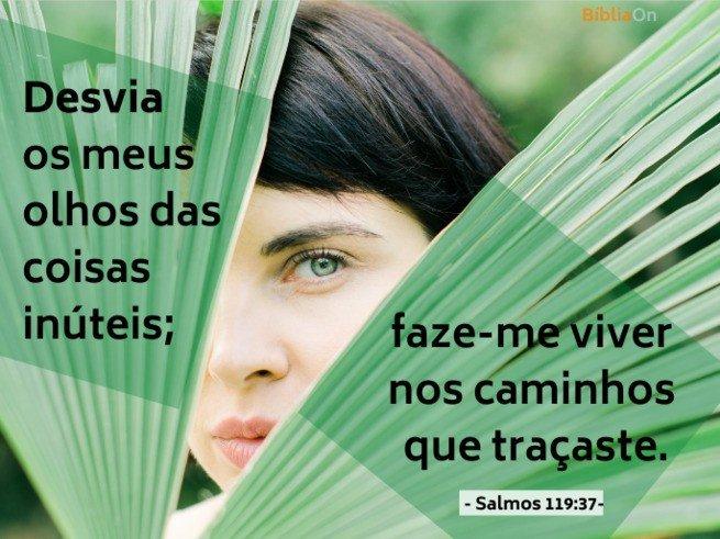 Desvia meus olhos das coisas inúteis... Salmos 119:37 - Olhar entre folhas de palmeira