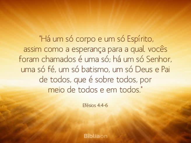 'Há um só corpo e um só Espírito, assim como a esperança para a qual vocês foram chamados é uma só; há um só Senhor, uma só fé, um só batismo, um só Deus e Pai de todos, que é sobre todos, por meio de todos e em todos.' Efésios 4:4-6