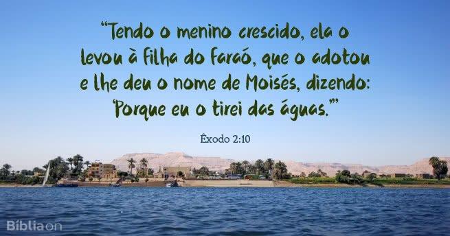 Tendo o menino crescido, ela o levou à filha do faraó, que o adotou e lhe deu o nome de Moisés, dizendo: Porque eu o tirei das águas. Êxodo 2:10
