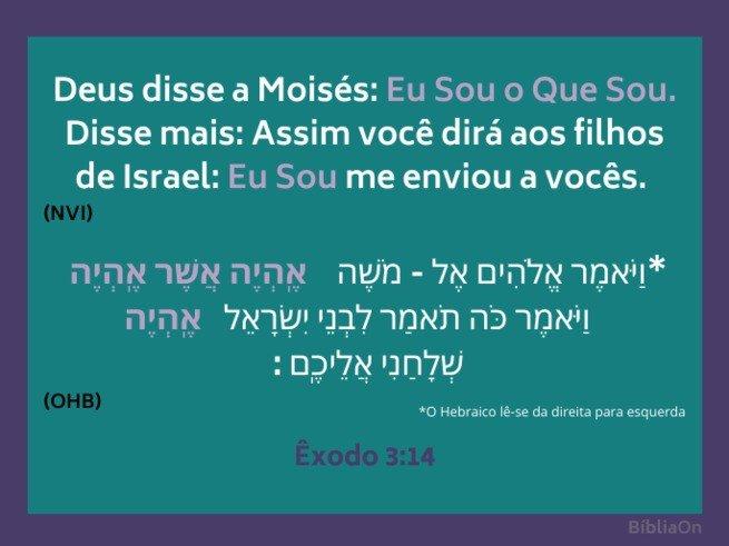 Versiculo de Exodo 3:14  em portugues e hebraico
