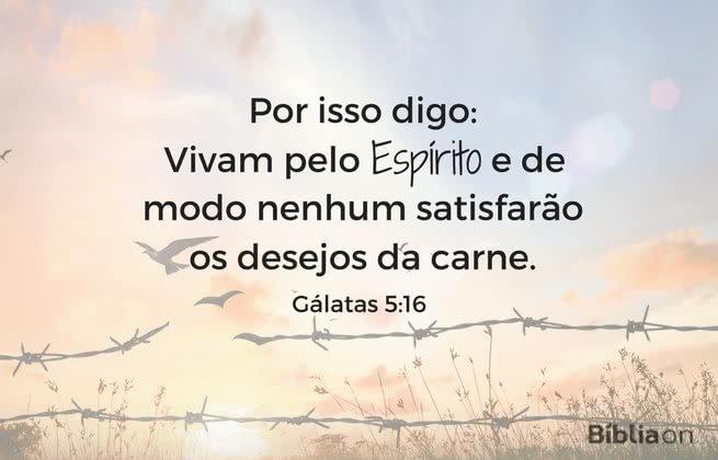 Por isso digo: Vivam pelo Espírito, e de modo nenhum satisfarão os desejos da carne. Gálatas 5:16