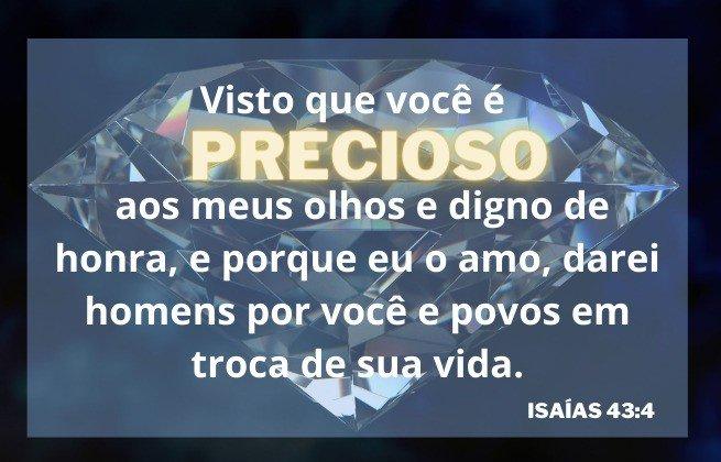 Visto que você é precioso... Imagem de fundo, um diamante - Isaías 43:4