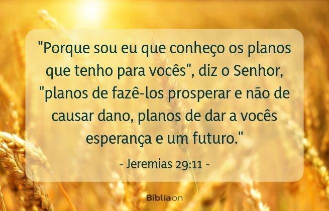 Porque sou eu que conheço os planos que tenho para vocês, diz o Senhor, planos de fazê-los prosperar e não de causar dano, planos de dar a vocês esperança e um futuro. Jeremias 29:11