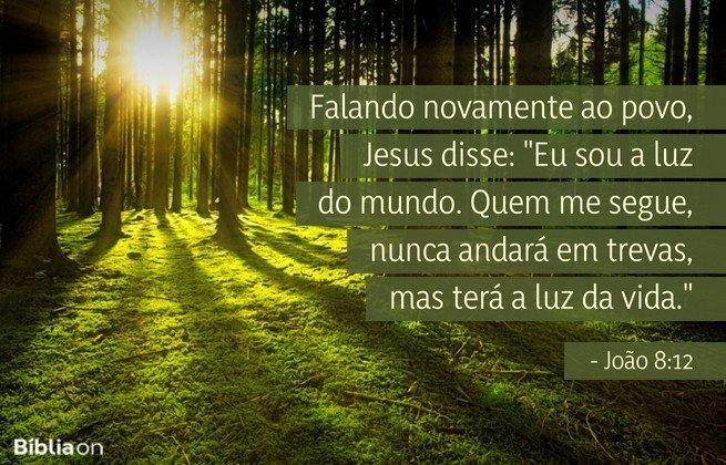Falando novamente ao povo, Jesus disse: 'Eu sou a luz do mundo. Quem me segue, nunca andará em trevas, mas terá a luz da vida.' João 8:12