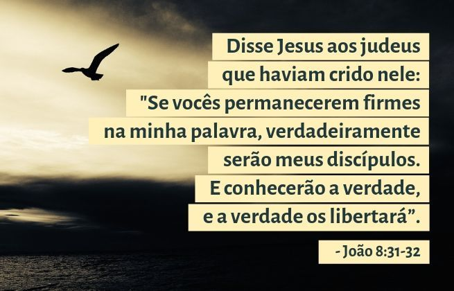 Disse Jesus aos judeus que haviam crido nele: 'Se vocês permanecerem firmes na minha palavra, verdadeiramente serão meus discípulos. E conhecerão a verdade, e a verdade os libertará. - João 8:31-32