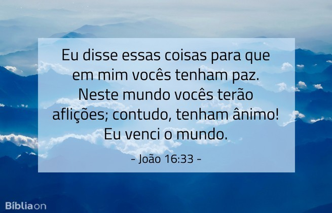 Eu disse essas coisas para que em mim vocês tenham paz. Neste mundo vocês terão aflições; contudo, tenham ânimo! Eu venci o mundo. João 16:33