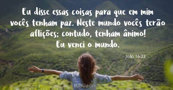 """""""Eu disse essas coisas para que em mim vocês tenham paz. Neste mundo vocês terão aflições; contudo, tenham ânimo! Eu venci o mundo."""" João 16:33"""