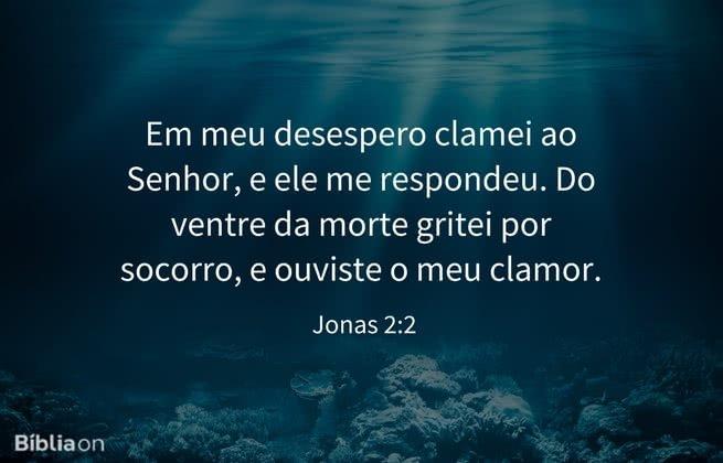 """E disse: """"Em meu desespero clamei ao Senhor, e ele me respondeu. Do ventre da morte gritei por socorro, e ouviste o meu clamor. Jonas 2:2"""