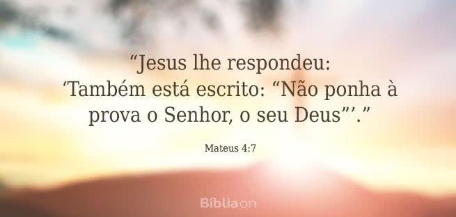 """""""Jesus lhe respondeu: 'Também está escrito: """"Não ponha à prova o Senhor, o seu Deus""""'."""" Mateus 4:7"""